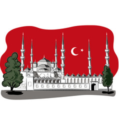 Representing the blue mosque in istanbul at night vector