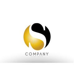 S black white gold golden letter logo design vector
