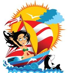 sailing beauty vector image