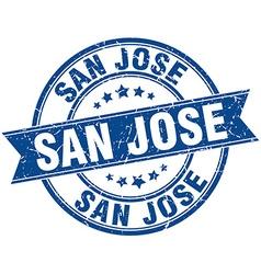 San Jose blue round grunge vintage ribbon stamp vector