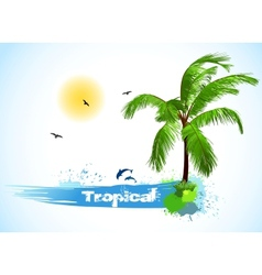 Sea and coconut palm vector image