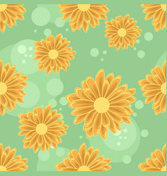 Seamless pattern with orange daisy flowers vector