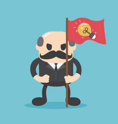 Senior businessman hold red flags and dollar vector