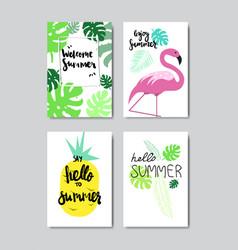 set enjoy summer flamingo lemon badge isolated vector image