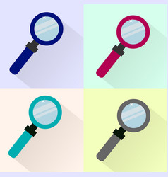 set of colored magnifier icons vector image
