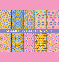 set of ten colorful seamless patterns vector image