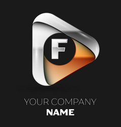 silver letter f logo in golden-silver triangle vector image