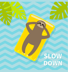 slow down sloth floating on yellow air pool water vector image