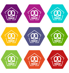 Snack icons set 9 vector