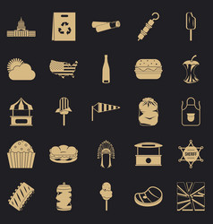 Street eatery icons set simple style vector