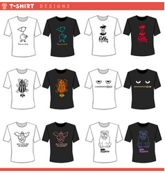 T shirt decorative concept designs set vector