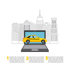 Taxi service public transport app technology vector