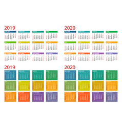 Template calendar 2019 2020 week starts vector