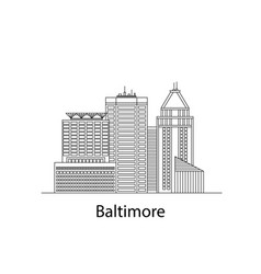 the baltimore sketch city sticker in lines vector image