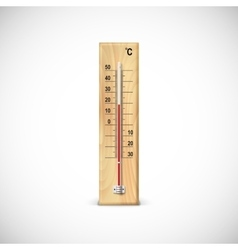 Thermometer on wooden base vector