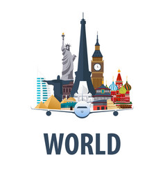 travel emblem around the world vacation trip to vector image