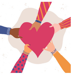 trendy with different hands holding heart concept vector image