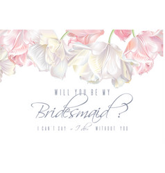 Tulip bridesmaid card pink vector