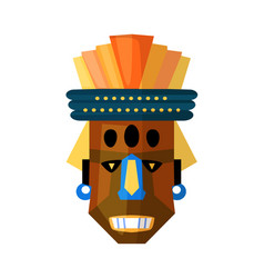Ugly terrible african mask isolated on white vector