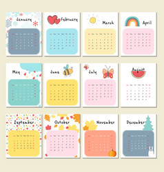 Unusual cute calendar for 2018 vector