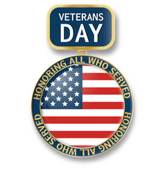 veterans day medal icon logo realistic style vector image