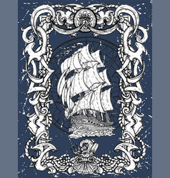 victorian frame with sea pattern and sailboat vector image