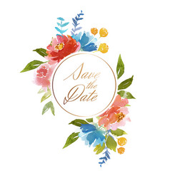 Watercolor wedding card vector