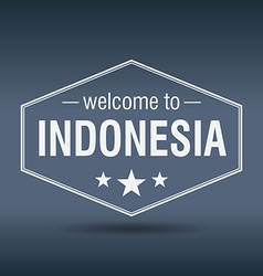 Welcome to Indonesia hexagonal white vintage label vector