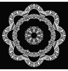 White flower zentangle style pattern on black vector