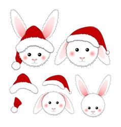 White rabbit santa claus isolated on vector