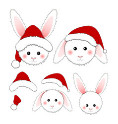 white rabbit santa claus isolated on white vector image