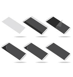 White smartphones screen protector set different vector