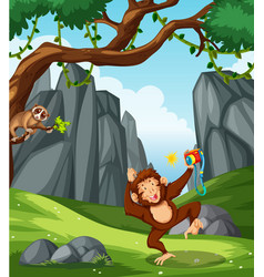 wild animals in nature scene vector image