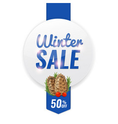Winter discount banner with pine cone and fir vector
