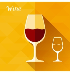 with glass wine in flat design style vector image