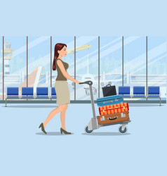 woman with luggage trolley in airport vector image