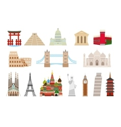 World landmarks icons in flat style vector