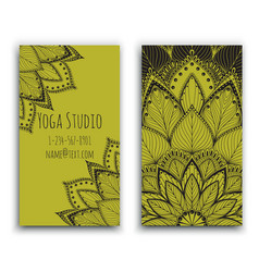 Yoga studio business card with green mandala vector