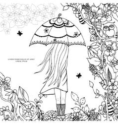 Zen Tangle a girl with an vector image