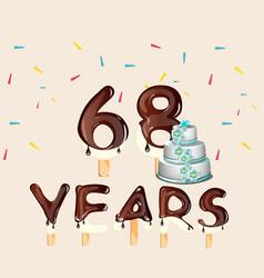 68 years happy birthday card vector image vector image