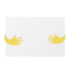 abstract hands holding blank sheet of paper vector image vector image