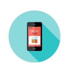 Christmas Present Smartphone Notification Circle vector image