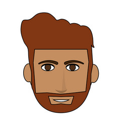 color image cartoon front face guy with beard and vector image