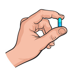 Hand holding two piece blue gelatin capsule by two vector