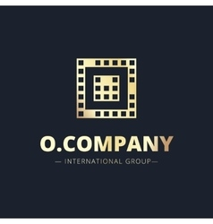 metal style geometric O letter logo vector image vector image