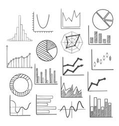 Charts bars and graphs icons sketches vector image