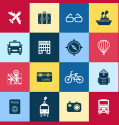 digital red blue yellow travel icons vector image vector image