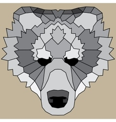 Gray low poly lined bear vector image vector image