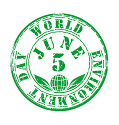green grunge stamp for world environment day vector image