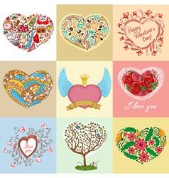 heart shapes set vector image vector image